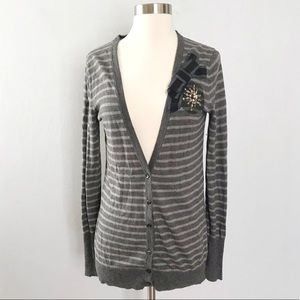 LOFT Striped Embellished Cardigan